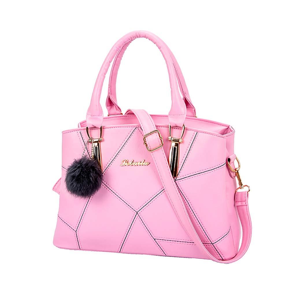 Women's Briefcase PU Leather Crossbody Bag Shoulder Satchel Bag Adjustable Strap Handbag with Fluffy Ball Pendant Soft Handle Bag