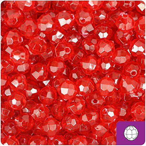 BEADTIN Red Transparent 8mm Faceted Round Craft Beads (8mm Round Faceted Acrylic Beads)
