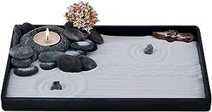 ICNBUYS Handmade Zen Garden Pebble Tealight Candle Holder Set Quiet Spring with Free Zen Garden Tools, Sand, Base Tray and Accessories