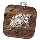 3dRose White Painted Turtle on Brown Weatherboard-Not Real Wood Potholder, 8 x 8