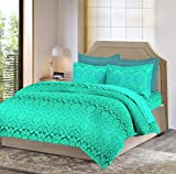 Bombay Dyeing Mimosaa 100 TC Cotton Double Bedsheet with 2 Pillow Covers - Green