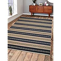 Rugsotic Carpets Hand Woven Kelim Woolen 8 x 10 Contemporary Area Rug Aqua Cream D00114 With Fringe