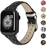 Moolia Glitter Band Compatible with Apple Watch Band 42mm 44mm, Sparkly Bling Leather Band Wristband Replacement for iWatch S
