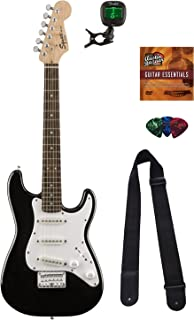 Squier by Fender Mini Strat Electric Guitar - Black Bundle with Tuner, Strap, Picks