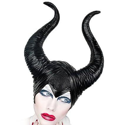 Halloween Strega Cattiva Berretto Corna Maleficent Horns Latex Queen  Headpiece Cosplay Copricapo Nero  Amazon.it  Casa e cucina 3315b41593b5