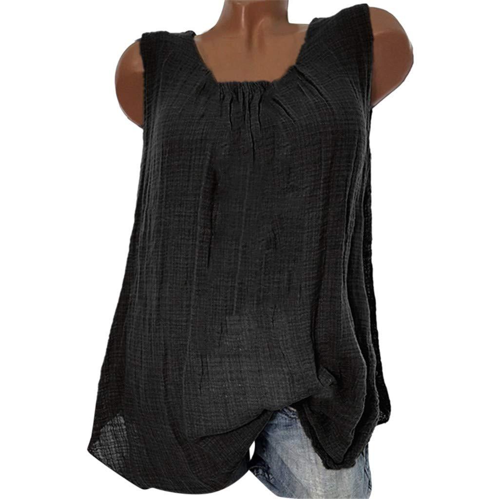 YpingLonk /Ärmelloses Leinenoberteil ,Womens Baumwolle Leinen /ärmellose Baggy T-Shirt Weste Bluse Tank Tops Plus Size