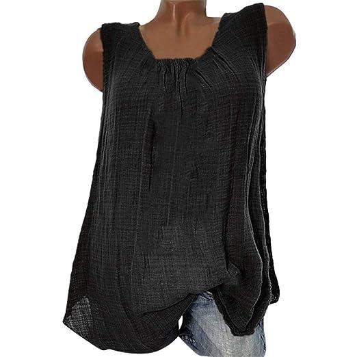 a4f1dfc89afa Amazon.com  Bohelly ♚♚ 2019 New Womens Cotton Linen Sleeveless Baggy T-Shirt  Vest Tee Blouse Tank Tops Plus Size  Clothing