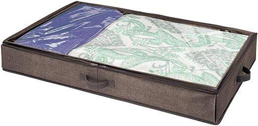 mDesign Cajón para debajo de la cama – Caja organizadora con tapa ...
