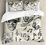 Our Wings Music Comforter Set,Sketchy Background Hipster Skull Headphones Record Player Mic Speakers Print Bedding Duvet Cover Sets Boys Girls Bedroom,Zipper Closure,4 Piece,Beige Black Twin Size