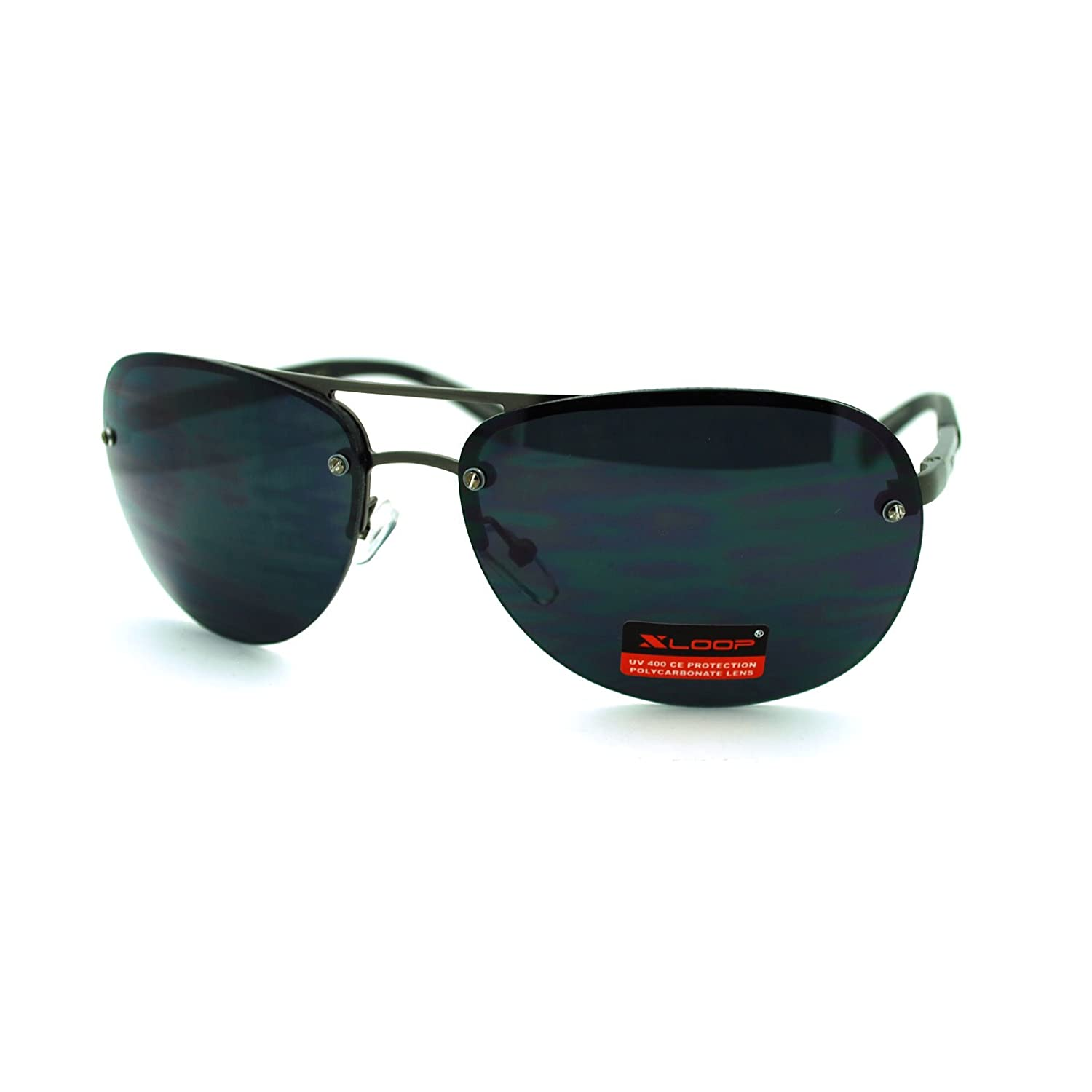 5bb23552cd8 Amazon.com  X-Loop Fashion Sunglasses Rimless Round Aviator Spring Hinge  Black  Clothing