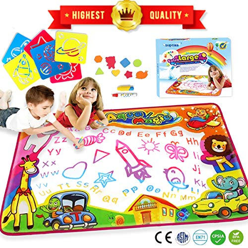 (Water Drawing Mat Aqua Magic Water Doodle Mat Extra Large Kids Toys Mess Free Coloring Painting Educational Writing Mats Gift for Toddlers Boys Girls Kids Doodle Learning Toy 34.6