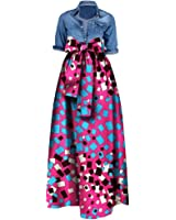 Huiyuzhi Womens African Print Dashiki Dress Long Maxi A Line Skirt Ball Gown