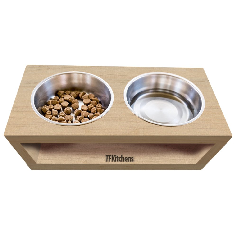 TFKitchen Unfinished Solid Maple Wood Elevated Dog and Cat Pet Feeder, Single Bowl Raised Stand (3 Quart), 3/4'' Thick, 14'' x 12'' x 11'' Tall