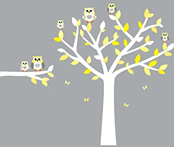Owl Wall Decals, Nursery Room Wall Decals, Yellow And Gray Vinyl Tree Part 15