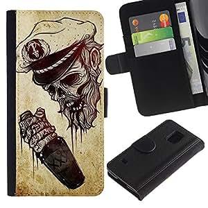 KingStore / Leather Etui en cuir / Samsung Galaxy S5 V SM-G900 / Seaman mort Drunk Sailor