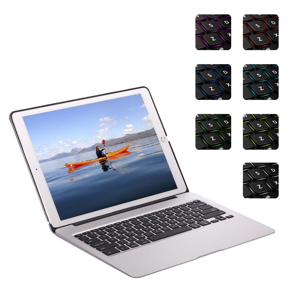 ElementDigital iPad Pro 12.9 inch Bluetooth Keyboard Case iPad Stand Adjustable Viewing Angle 81 Keys Wireless Keypad for iPad Pro 12.9 inch with Dream Color Backlit Auto Sleep Wake (Silver)