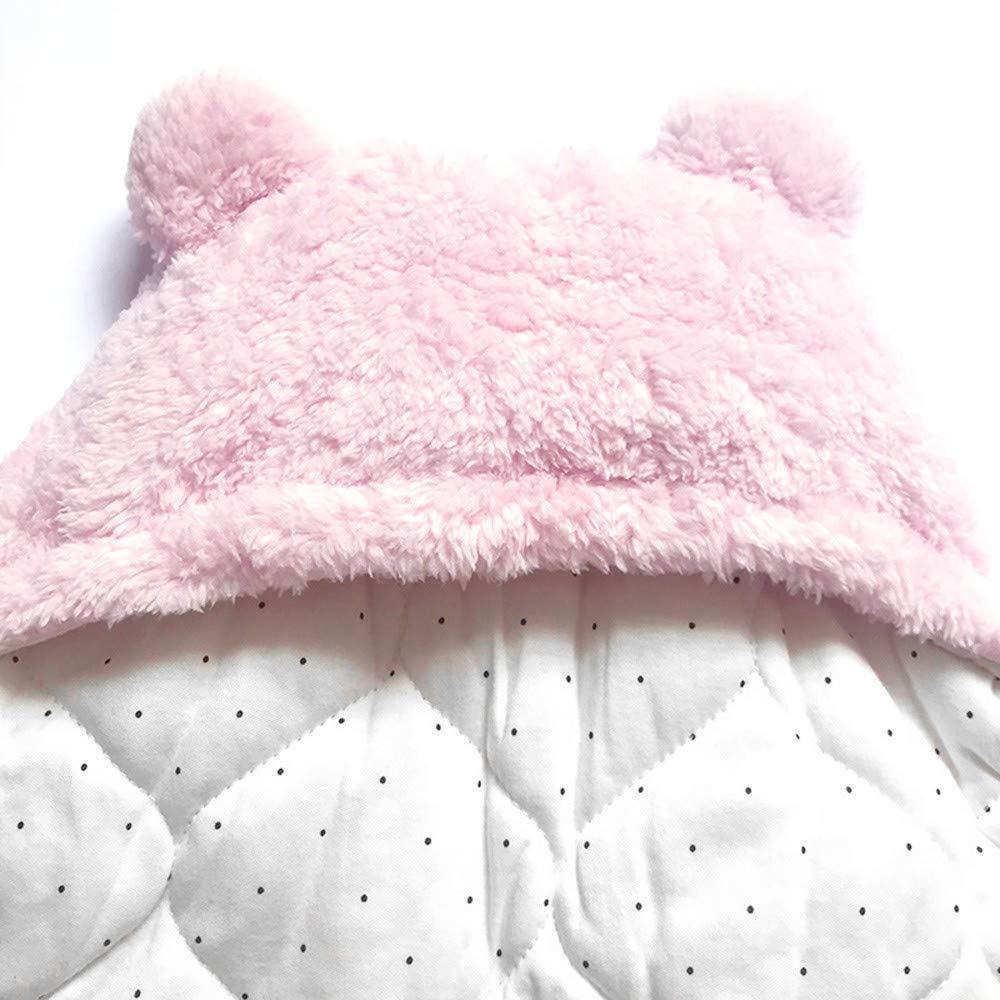 Mitlfuny Saco de Dormir para Bebé Niños Invierno Cálido Grueso Velcro Manto Envolvente Recién Nacido Cordero Lana Swaddle Wrap Dibujos Animados Oso Manta ...