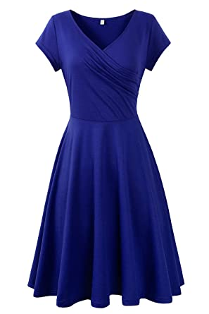 543eaf52094323 Genhoo Damen Casual Kleid A-Linie Sommerkleider Kurzarm V-Ausschnitt  Wickelkleid Vintage Abendkleid Skaterkleid