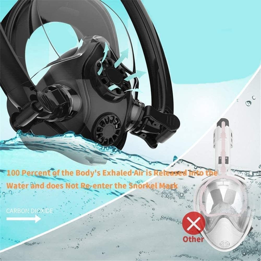 Lightahead Full Face Snorkeling Diving Mask Double Snorkel with Anti Leak Advanced Breathing System 180 Degree View Scuba Diving Mask with Camera Mount for Adults and Kids