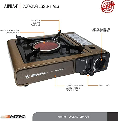 NTK Alpha-T Deluxe Heavy Duty Portable Super Light 3.8Lb Gas Butane Stove with Piezo Electronic Ignition, Ceramic Burner Technology.
