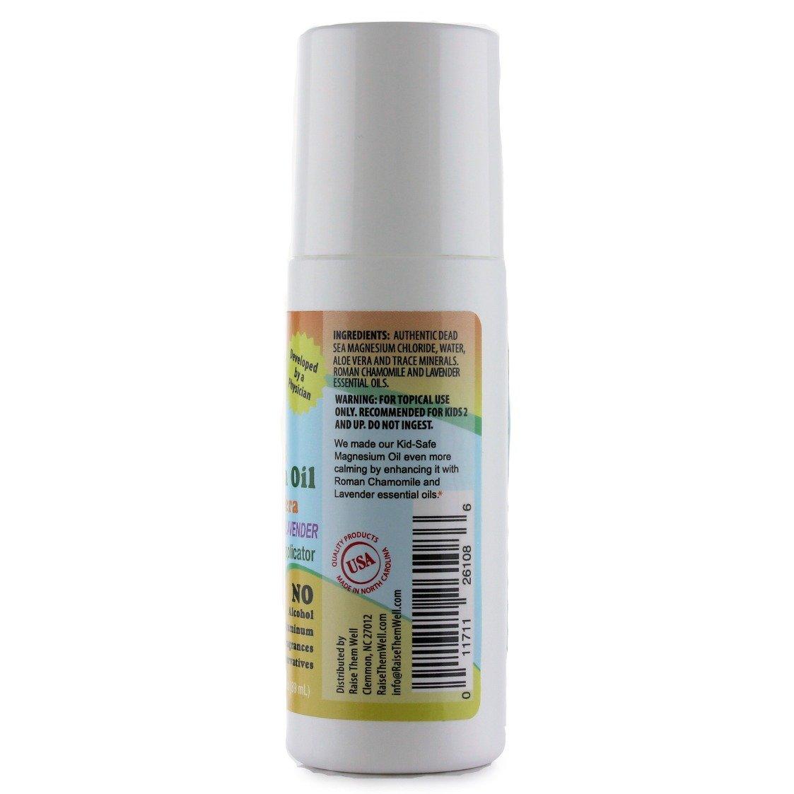 Kid Safe Calmante magnesio aceite con aceites esenciales de lavanda y camomila romanos. Combinado con Aloe Vera por lo que no quemar o pica.