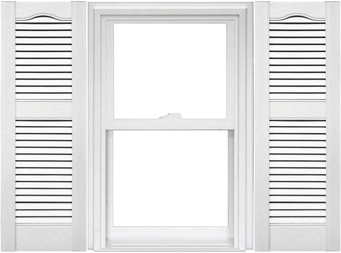 1 Pair 14.5 x 43 117 Bright White Mid America Cathedral Open Louver Vinyl Standard Shutter