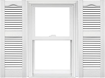 1 Pair 14.5 x 52 117 Bright White Mid America Cathedral Open Louver Vinyl Standard Shutter