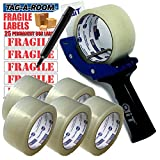 Tag-A-Room Heavy Duty Shipping Packaging Tape (6 Rolls, 1.88-Inch x 54.6 Yards), Tape Gun Dispenser, Fragile Shipping Label Value Bundle
