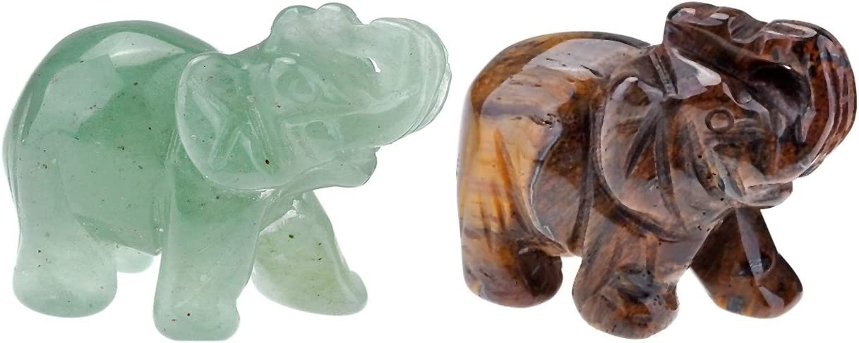 JOVIVI 2pc Natural Carved Healing Gemstones Crystal Elephant Figurine Statues 1.5'' Home Room Decor Desk Decoration Christmas Ornametns, with Gift Box