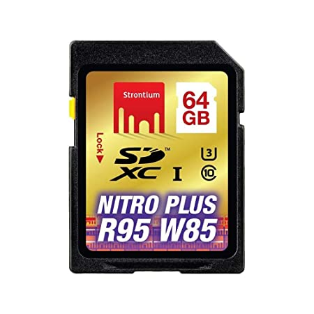 Strontium Nitro Plus 64GB UHS-I U3 Class 10 SDXC Card (SRP64GSDU1) Micro SD Cards at amazon