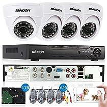 KKmoon 4CH Full AHD 1080N 1200TVL CCTV Surveillance DVR Security System P2P Cloud Onvif Network Digital Video Recorder +1TB Hard Drive Support IR-CUT Filter Night Vision Plug and Play