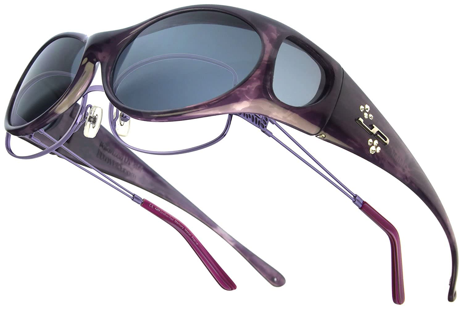 06eed1e24e99 Amazon.com  Fitovers Eyewear Aurora Sunglasses with Swarovski Elements on  temples (Claret
