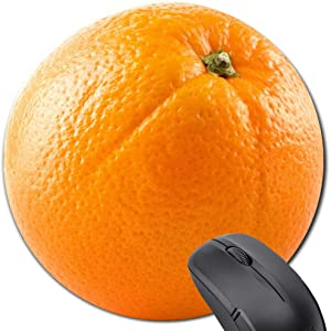 Round Orange Mouse Pad, Funny Cute Food Tropical Fruit Gift Mousepad for Computer and Laptop Lemon Slice