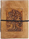 Rustic Town Ancient Tree of Life Embossed Small Leather Journal Leather Diary Gifts for Him Her Poet Artists