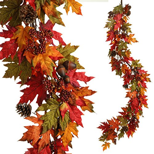 RAZ Imports - Thanksgiving 6' Fall/Autumn Leaf Garland for your Entryway or Hutch by RAZ Imports