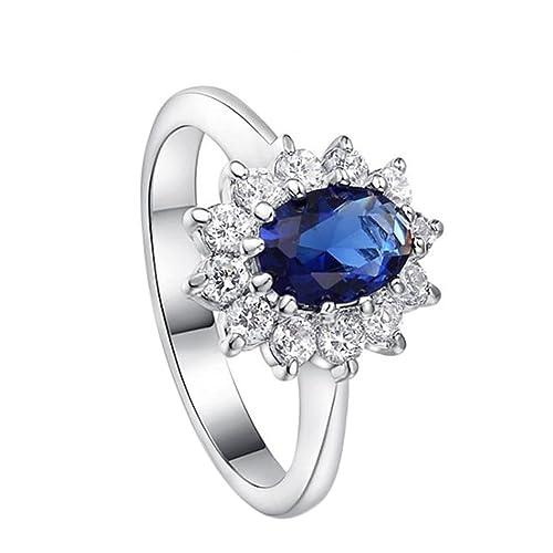 Gespout Noble Diamond Ring Elegant Crystal Rings Wedding Jewelry For Women Girlfriend Diameter (Blue,Size M)