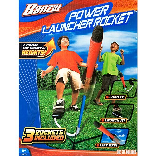Banzai Power Launcher Rocket (Foam Shooting Launch Blaster Shuttle Spring Summer Outdoor Backyard Kids Children Toy) (Outdoor Banzai Toys)