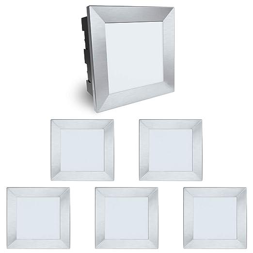 4 Stück große LED Wand Einbaustrahler Piko-L Treppenleuchte IP65 3,5W warmweiß