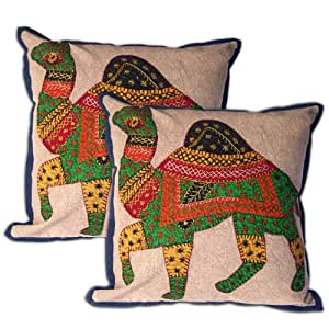 Throw Pillow Cover Mirror Camel Patchwork Set of 2 Handmade Cotton Cushion Cases 16 x 16 inches