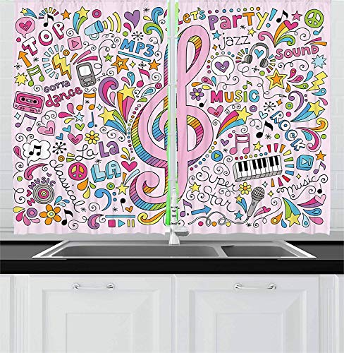 ZOE STORE 70s Party Kitchen Curtains 104x72in - Music Clef Groovy Psychedelic Doodles Hand Drawn Hippie Signs Artwork Window Drapes 2 Panel Set for Kitchen Cafe -