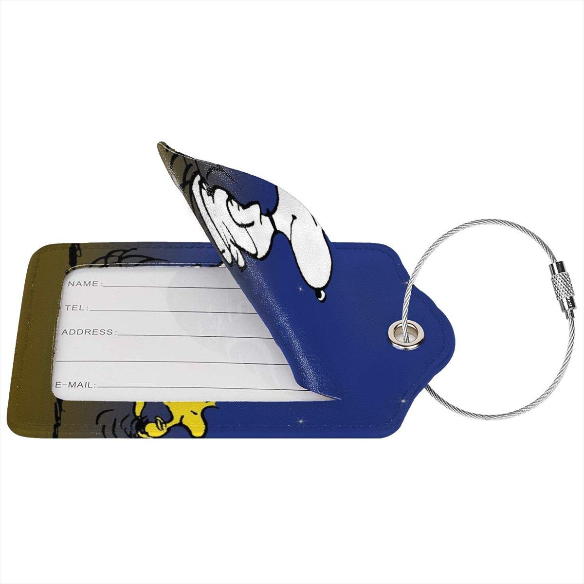Suit For Travel,Vacation Fashion Snoopy-dancing-in-color Soft Leather Luggage Tags With Privacy Cover 1-4 Pcs Choose