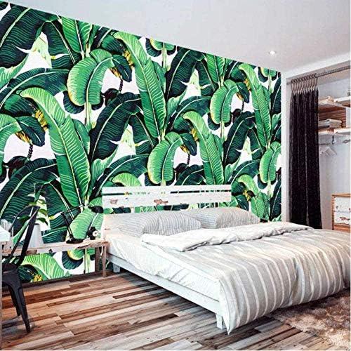 Clhhsy 剥離可能な3D壁画カスタム壁壁画壁紙ヨーロピアンスタイルのレトロな手描きの熱帯雨林植物バナナの葉の牧歌的な壁画壁紙3D-350X250Cm