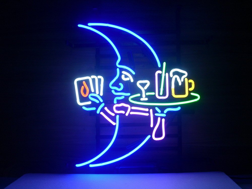New Blue Moon Real Glass Neon Light Sign Cocktail Home Beer Bar Pub Martini Cocktails Sign L114