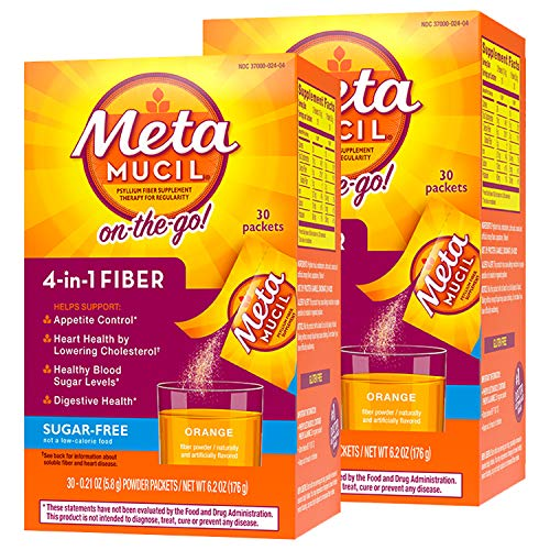 Metamucil Fiber, 4-in-1 Psyllium Fiber Supplement, Sugar-Free Powder Single-Serve Packets, Orange Flavored Drink, 2 Boxes of 30 Packets (Packaging May Vary) ()