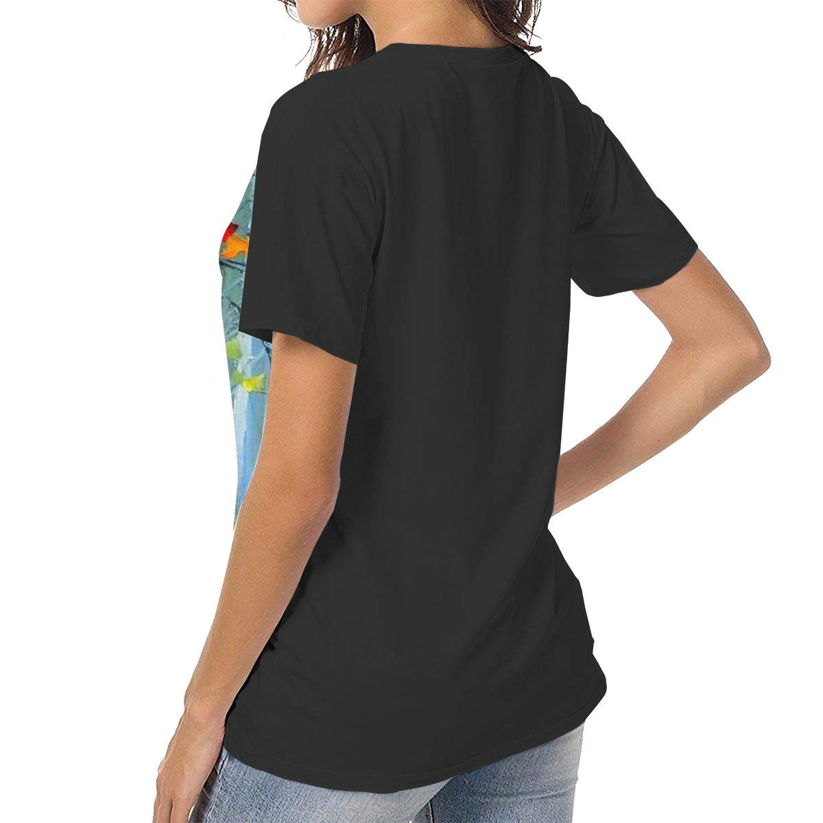 Laki-co Womens Summer Short Sleeve Forest Trail with Fall Maples Casual Raglan Tee Baseball Tshirts Tops Blouse