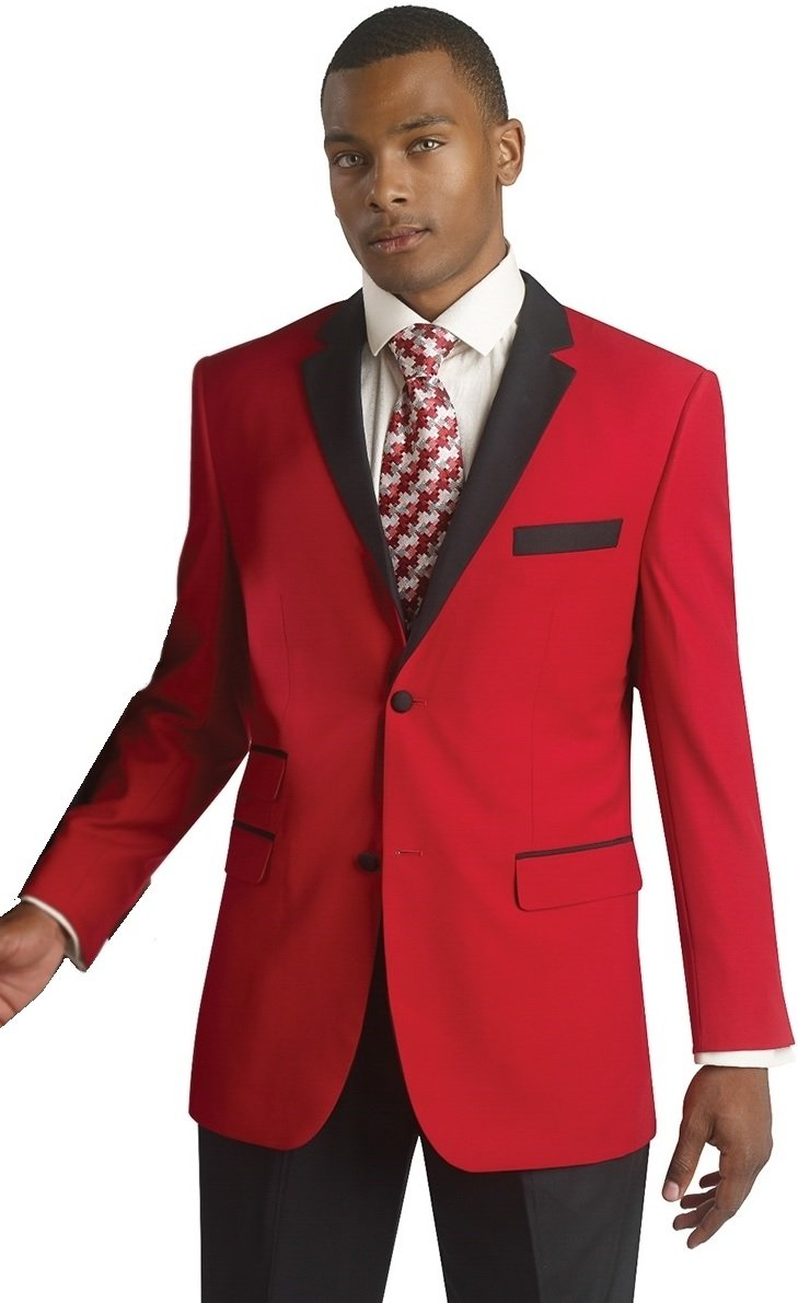 Mens Red Black Trim Tuxedo 2 Piece Formal Wedding Christmas Suit Size 52 R (52R)