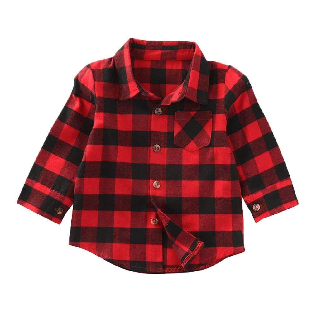 Baby Boys Girls Christmas Button Down Plaid Flannel Long Sleeve Shirt