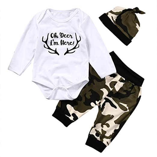 58ab25732e5 Infant Newborn Camouflage Cute Deer Print Long Sleeve Bodysuit with Pants  and Hat 3pcs Outfits Set