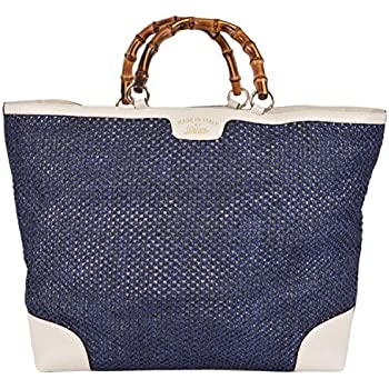 642b7d4ddbb6 Amazon.com: Gucci Women's Large Blue Straw Leather Bamboo Handle ...