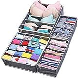 MIU COLOR Drawer Organizer Storage - Foldable Cube Closet Organizer, Bra Underwear Drawer Divider, 4 set, Gray